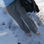 My feet have gotten soft and kind of wimpy in the months that I've had to wear shoes. The snow and ice were cold!